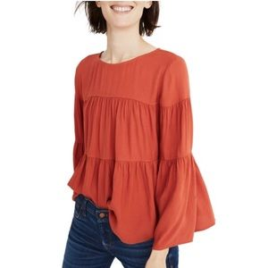 Madewell Tiered Button Back Bell Sleeve Top S